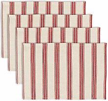 Dibor Set of 4 Red Stripe Machine Washable 100%