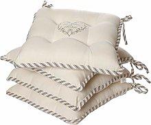 Dibor Set of 4 Seat Pads -Grey Striped Heart 100%