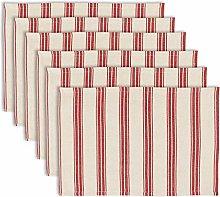 Dibor Set of 6 Red Stripe Machine Washable 100%