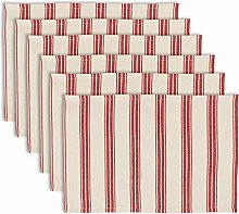 Dibor Set of 6 Red Striped Machine Washable 100%