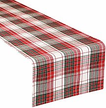 Dibor Table Runner 100% Cotton Red & White Tartan