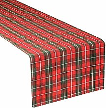 Dibor Tartan Table Runner - Red & Green Washable