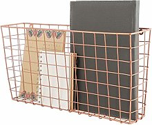 Dibor Wall Mounted Wire Storage Basket Copper Home