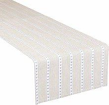 Dibor White & Blue Stripe Table Runner Machine
