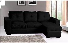 Diego Corner Group Sofa Black Leather