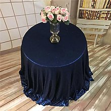 DIF 120-Inch Round Sequin Tablecloth- Black,Navy,72