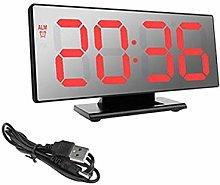 Digital Alarm Clock, LED Mirror Electronic Clock,