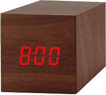 Digital Alarm Clock Modern Cube Wooden LED Light