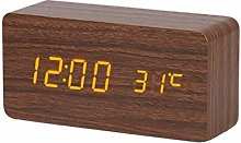 Digital Alarm Clock Wooden Watch Clock Voice
