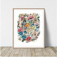 DIHEFA Botanical Poster, Print, Colorful Floral
