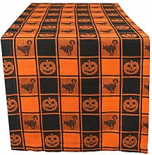 DII 14x72 Cotton Table Runner, Black & Orange