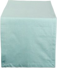 DII Aqua Solid Chambray Table Runner, 14x72
