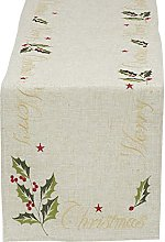 DII Christmas Holiday Embroidered Table Runner,