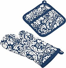 DII Cotton Damask Oven Mitt 12 x 6.5 and Pot