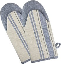 DII Cotton French Stripe Oven Mitt, 13x6 Set of 2,