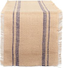 DII French Blue Double Border Burlap Table Runner,