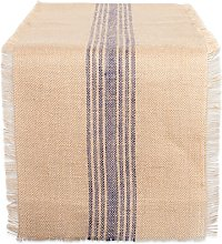 DII French Blue Middle Stripe Burlap Table Runner,