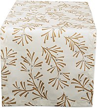 DII, Metallic Holly Leaves, Table Runner 14x72