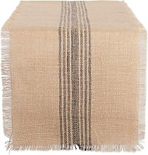 DII Mineral Middle Stripe Burlap Table Runner,