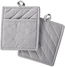 DII Pocket Pot Holder Set of 2-Chambray Gray