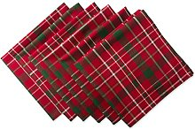DII Round Tartan Holly Plaid Tablecloth, 70 Inches