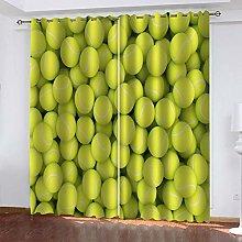 DILITECK Childrens Blackout Curtains Green Tennis