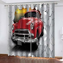 DILITECK Childrens Blackout Curtains Retro Red Car