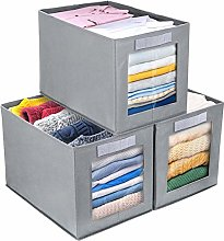 DIMJ Foldable Storage Boxes with Transparent