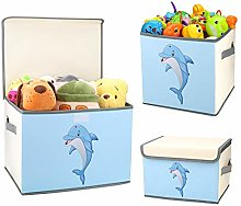 DIMJ Kids Storage Boxes with Lids Set of 3, Cute
