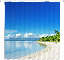 DINGQING Sea View Shower Curtain Dense Tropical