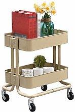 DINGZXC Serving Cart Kitchen Trolley Cart 2 Tier
