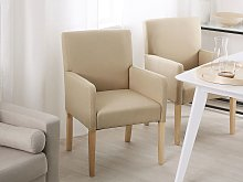 Dining Chair Beige Fabric Upholstery Wooden Legs