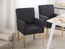 Dining Chair Black Fabric Upholstery Wooden Legs