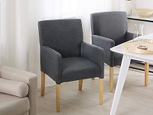 Dining Chair Grey Fabric Upholstery Wooden Legs