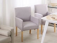 Dining Chair Light Grey Fabric Upholstery Wooden