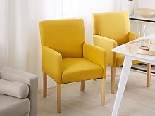 Dining Chair Yellow Fabric Upholstery Wooden Legs