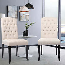Dining Chairs 2 pcs Linen Fabric - dining room