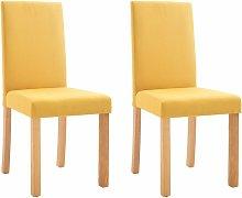 Dining Chairs 2 pcs Yellow Fabric QAH33206 - Hommoo