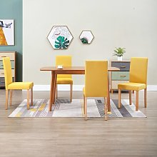 Dining Chairs 2 pcs Yellow Fabric VD33206 - Hommoo