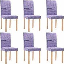 Dining Chairs 6 pcs Fabric Purple - Purple - Vidaxl