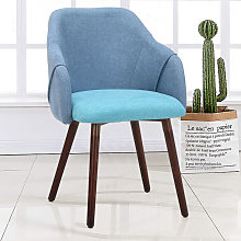 Dining Chairs Retro Seating Wooden Legs Blue &
