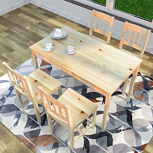 Dining Table and 4 Chairs Nature Kitchen Living