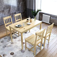 Dining Table and 4 Chairs Solid Pine Nature