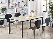 Dining Table Black with Light Wood Particle Board