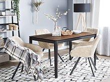 Dining Table Dark Wood with Black Metal Legs 135 x