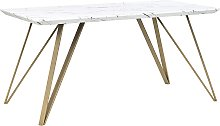 Dining Table Glamour White with Gold Marble Effect