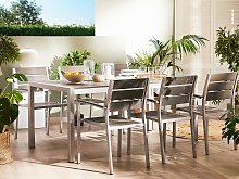 Dining Table Grey Aluminium Frame for 6 People 180