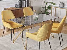 Dining Table Marble Effect Black with Gold