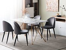 Dining Table Marble Effect White with Gold