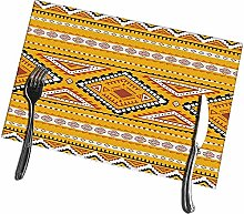 Dining Table Placemats Set of 6 Geometric Ethnic